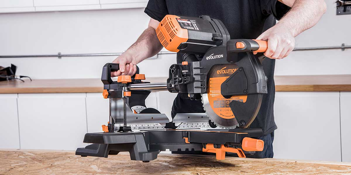 miter saw with rear carry handle
