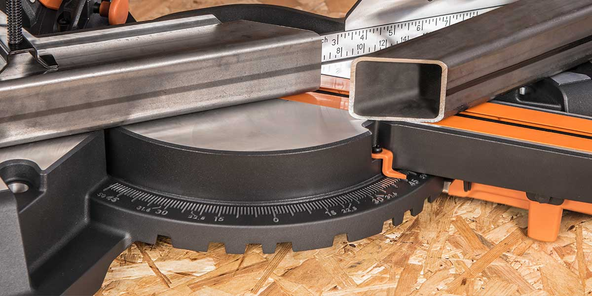 miter saw base with angle finder