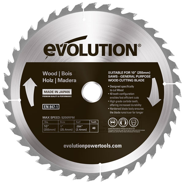 10 in. 40T, 1 in. Arbor, TCT Standard Rip, Course-Cutting Wood Blade