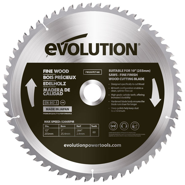 10 in. 60T, 1 in. Arbor, TCT Fine Wood Cutting Blade (Fits Miter Saws)